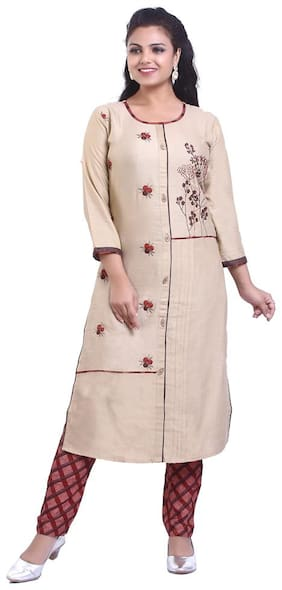ZRI Cotton Embroidery Beige Kurta With Pants
