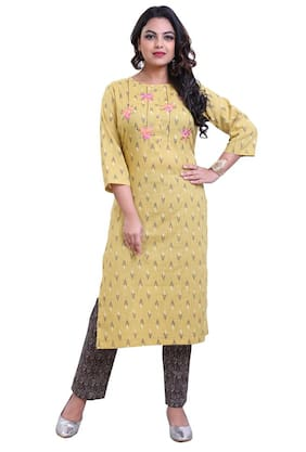 ZRI Cotton Embroidery Green Kurta With Pants