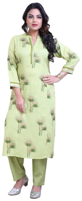 ZRI Women Green Floral Straight Kurta With Pants