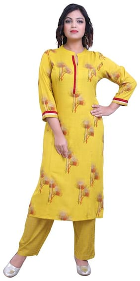 ZRI Women Yellow Floral Straight Kurta With Pants