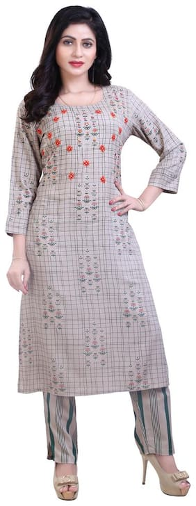 Zri Grey Kurta With Pants For Women