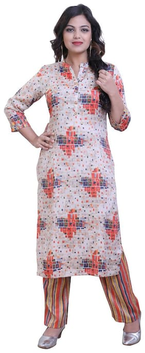 ZRI Women Multi Printed Straight Kurta With Palazzo