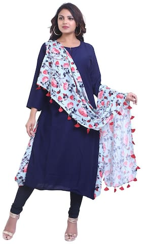 ZRI Women Blue Solid Straight Kurta With Churidar And Dupatta