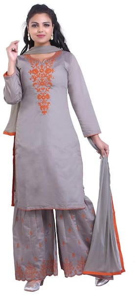 ZRI Silk Embroidery Beige Suit Set