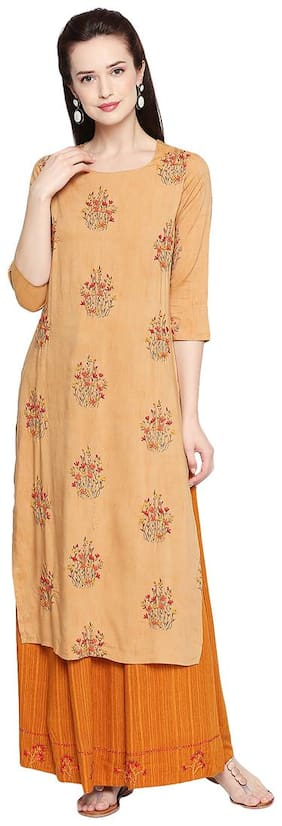 ZRI Women Cotton Embroidery Kurta Orange