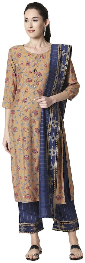 ZRI Women Viscose Rayon Festival Straight Fit Kurta;Pant and Dupatta Set (Brown)