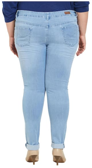 Blend Blue Light Stretchable Fit Zush For Women's Size Jeans Cotton Slim Plus SxAqISYw