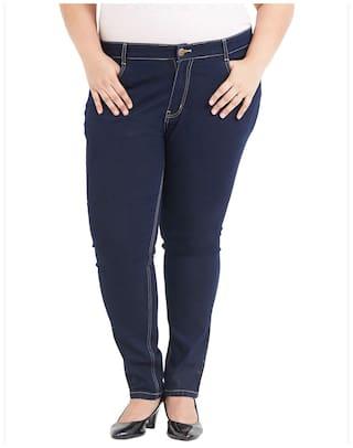 Zush Stretchable Regular Fit Dark Blue Cotton Blend Plus Size Jeans For Women's