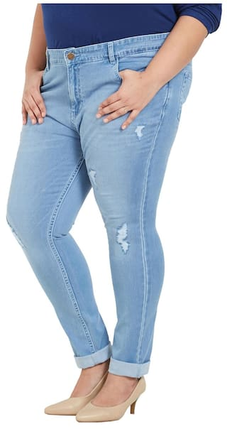Slim Size Light Cotton Zush Fit Women's Blue Plus Stretchable Jeans For Blend xTZZ7wq85