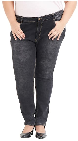 Zush Cotton Stretchable Regular Blend Jeans Black For Plus Fit Women's Size SOSrwqTxF