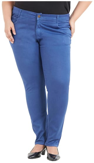 ZUSH Mid Rise Regular Fit Bright Blue Color Cotton Blend Fabric Plus Sized Pant For Womens