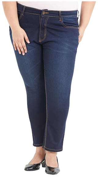 ZUSH Mid Rise Regular Fit Dark Blue Color Cotton Blend Fabric Plus Sized Jeans For Womens