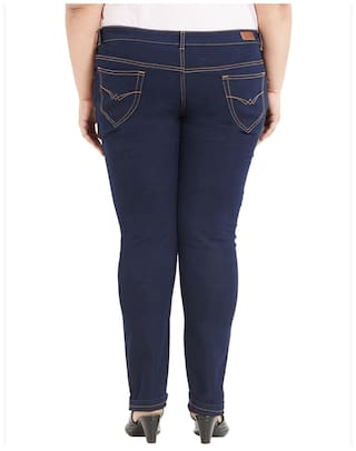 Dark Stretchable Zush Cotton Women's Fit Plus Regular Blue For Size Blend Jeans UtUgn76