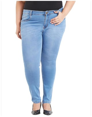 ZUSH Mid Rise Regular Fit Medium Blue Color Cotton Blend Fabric Plus Sized Jeans For Womens