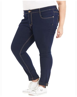 Fabric ZUSH Color Sized For Mid Regular Blue Fit Plus Womens Dark Jeans Blend Cotton Rise rwzqxYOPr