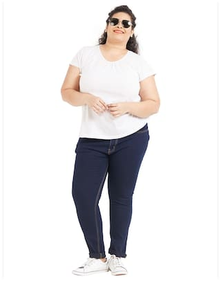 Blue Mid Dark Regular Womens ZUSH Cotton Fabric Color Fit Rise Plus For Sized Blend Jeans ZCnRxxqp