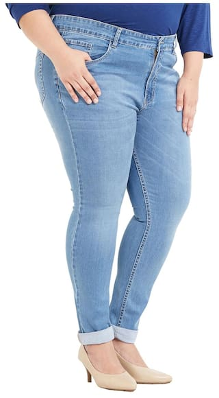 For Size Jeans Stretchable Fit Blend Blue Light Zush Regular Women's Cotton Plus vpxzqdRd