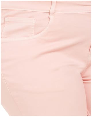 Pant Size Blend Zush Regular Fit For Pink Stretchable Plus Women's Cotton 1TOq8wxT