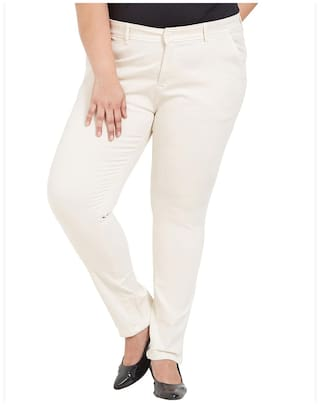 Zush Stretchable Regular Fit Ivory Cotton Blend Plus Size Formal Pant For Women's