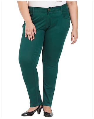 Zush Stretchable Regular Fit Green Cotton Blend Plus Size Pant For Women's