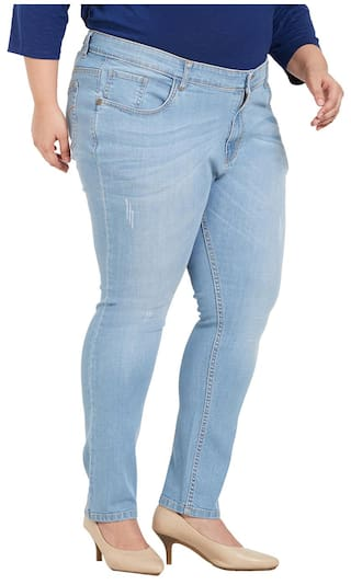 Plus Mid Fabric Blend Cotton ZUSH Fit Sized Regular For Color Blue Light Womens Jeans Rise S88vwZdqz