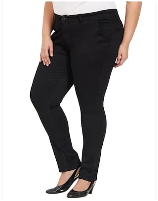 Rise Formal Womens Sized ZUSH For Fit Mid Regular Cotton Blend Fabric Black Color Pant Plus pwSqRxZUw5