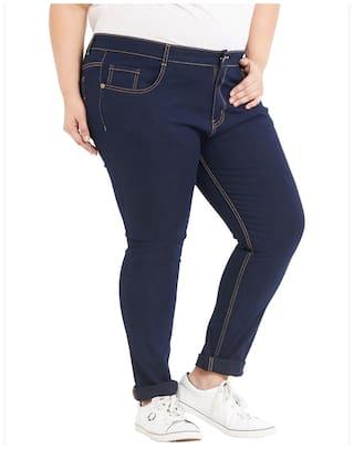 Cotton Dark Regular Stretchable Women's Zush Blend Fit Jeans Size For Blue Plus axXnn