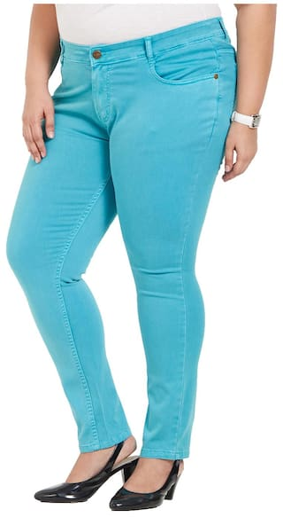 ZUSH Mid Rise Regular Fit Dark Turquoise Color Cotton Blend Fabric Plus Sized Pant For Womens