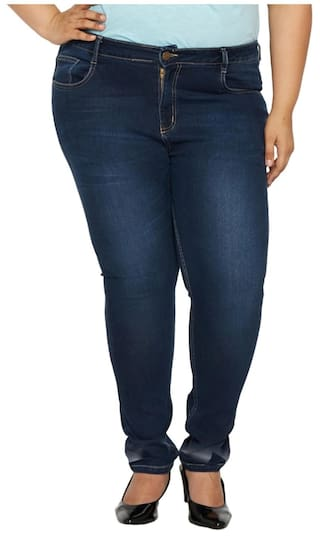 Blue Color Rise ZUSH Fabric Sized Dark Fit Jeans For Womens Denim Plus Regular Mid CUwX4