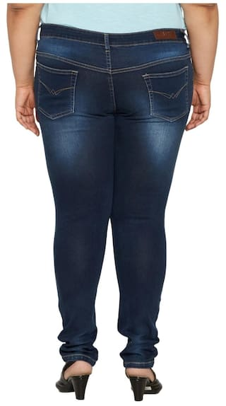 For Womens Blue Color ZUSH Rise Mid Sized Fabric Fit Denim Plus Jeans Regular Dark xHYSpwO7q