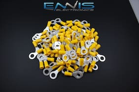 10-12 GAUGE VINYL RING 5/16 YELLOW 100 PK CRIMP TERMINAL CONNECTOR AWG WIRE AUTO