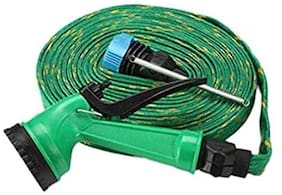 Water Spray Gun 10 m Hose Pipe- House, Garden & Car Wash Hose Pipe (Green)