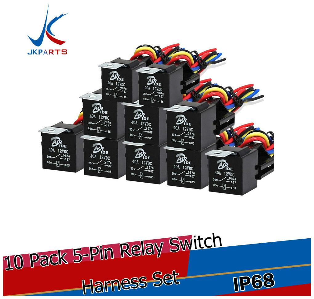 12V DC 5-Pin 10 Pack 40//30 Amp Waterproof Relay Switch Harness Set