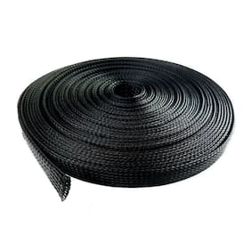 """100 Feet 1/2"""" Expandable Wire Cable Sleeving Sheathing Braided Loom Tubing Black"""