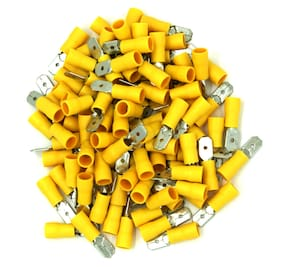 "100 Pack 12-10 Gauge Yellow Male Quick Disconnect Terminals .250"" - SHIPS FREE!"