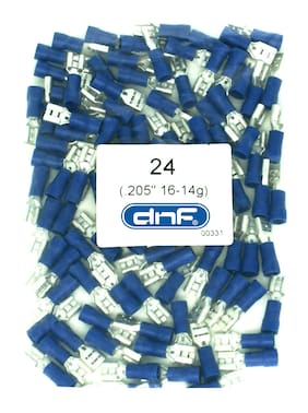 (100 PACK) BLUE VINYL 16-14 GAUGE FEMALE QUICK DISCONNECT WIRE CONNECTORS .205""