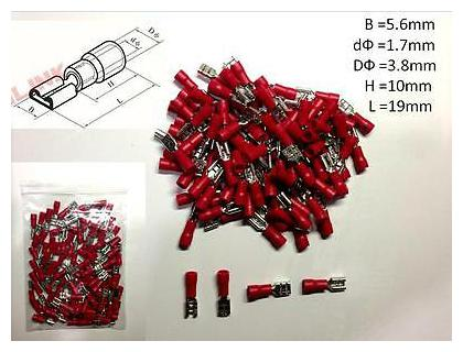 100Pcs Red FDD1.25-187 5.6mm16-22 AWG Insulated Female Spade Wire Crimp Terminal