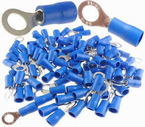14-16 GAUGE VINYL RING # 10  CONNECTOR 100 PK BLUE CRIMP TERMINAL AWG GA CAR SUV
