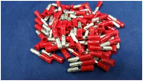 18-22 GAUGE VINYL BULLET MALE CONNECTOR 100 PK RED CRIMP TERMINAL AWG GA CAR SUV