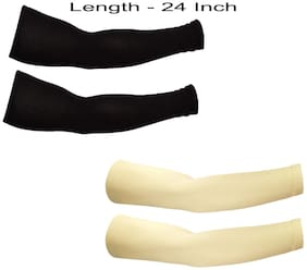 2 Pair - Wearable Cotton Arm sleeves Skin Cover for Sun protection(Beige and Black Color)