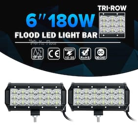 2X Tri-Row 6Inch 180W Cre Led Work Light Bar FLOOD Offroad Driving 4WD Truck 7""