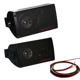 "300 Watt Mini Box Speaker System 3-Way 3.25"" Woofer w/ 100 ft 18 G Speaker Wire"
