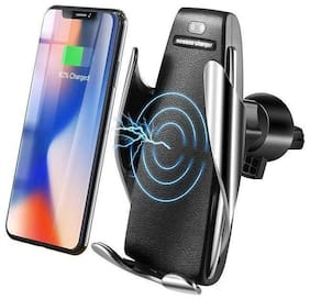 360 Rotate Smart Automatic Clamping Car Wireless Charger for iPhone XR Xs Max 8 Plus S9 10W Fast Charger Air Vent Mount Phone Holder (Black)
