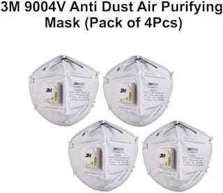 3M 9004V Particulate Respirator Pollution Mask, White, (Pack of 4)