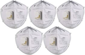 3M Anti Pollution Mask 9004V Dust Pollution, Disposable Mask & Respirator with Valve pack of 5.