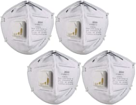 3M Anti Pollution Mask 9004V Dust Pollution, Disposable Mask & Respirator with Valve pack of 4.