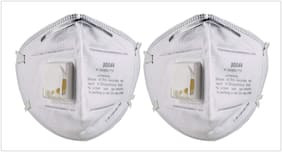 3M Anti Pollution Mask 9004V Dust Pollution, Disposable Mask & Respirator with Valve pack of 2.