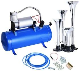 4 Trumpet Air Horn 12V Compressor Kit Blue Tank Gauge for Car Train Truck US