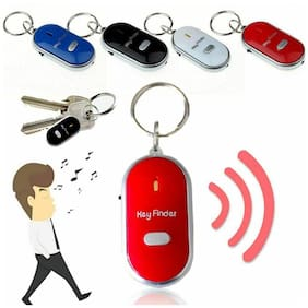 4Pcs LED Anti-Lost Key Finder Locator Keychain Whistle Beep Sound Control Torch