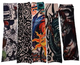 5 Pack Of High Quality Fun And Funky Nylson Stretch Cloth Fancy Dress Costume Fake Arm Art Tattoo Sleeves